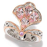 Gems en Vogue 1.73ctw Pear Shaped Morganite & Pink Sapphire Fan Ring
