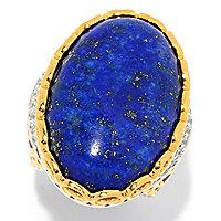 Gems en Vogue 30 x 20mm Oval Lapis & White Zircon North-South Ring