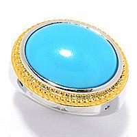 Gem Insider] Sterling Silver 16 x 12mm Oval Sleeping Beauty Turquoise Ring