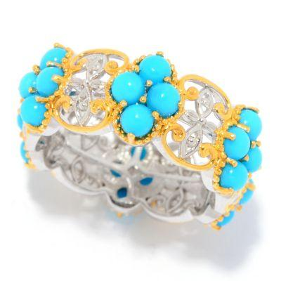 Gems en Vogue Sleeping Beauty Turquoise Cluster Eternity Ring