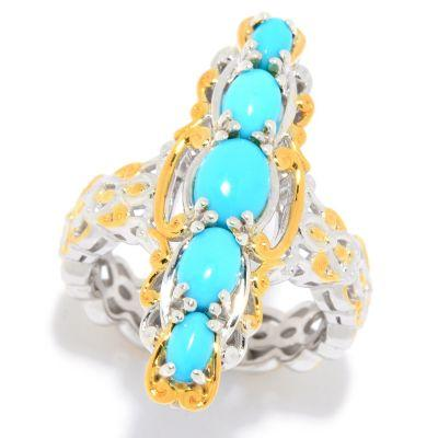 Gems en Vogue Sleeping Beauty Turquoise 5-Stone Elongated North-South Ring