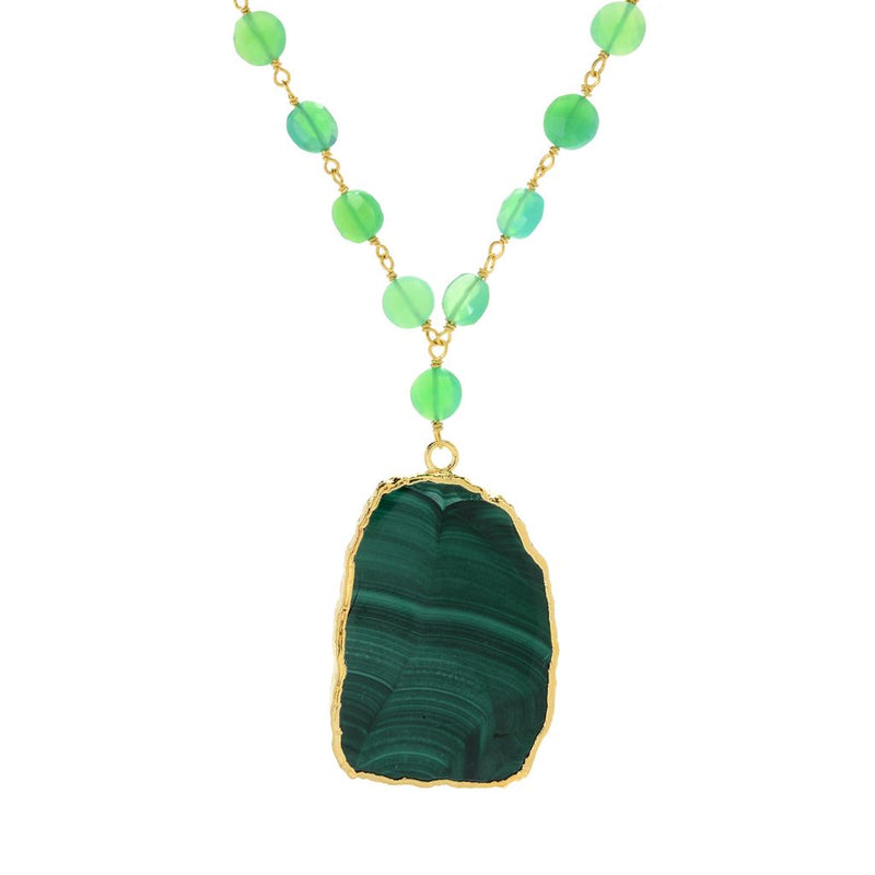 "Hilary Joy Couture 29.5"" 30 x 26mm Freeform Malachite & Chrysoprase Toggle Necklace"