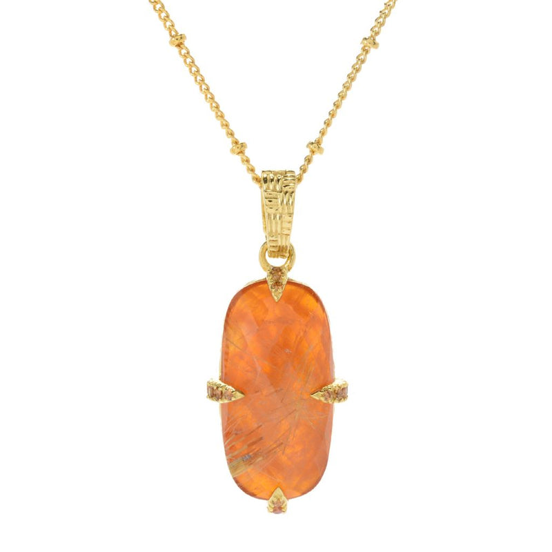 Hilary Joy Couture 24 x 12mm Golden Rutilated Quartz Carnelian Doublet Enhancer w/ Chain