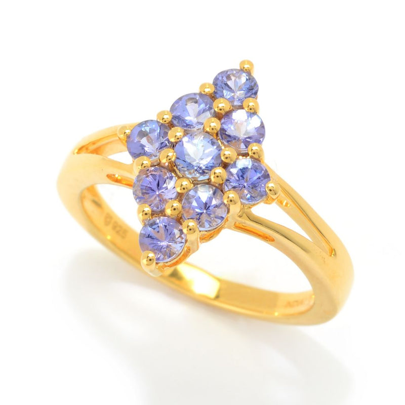Gemporia Choice of Plating Tanzanite Marquise Cluster Ring
