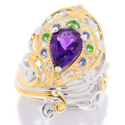Gems en Vogue 2.23ctw Namibian Amethyst & Multi Gemstone Peacock Ring