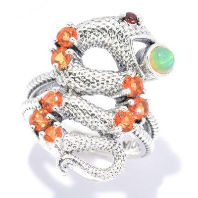 Nicky Butler Nature Collection Sterling Silver Multi Gemstone Snake Ring