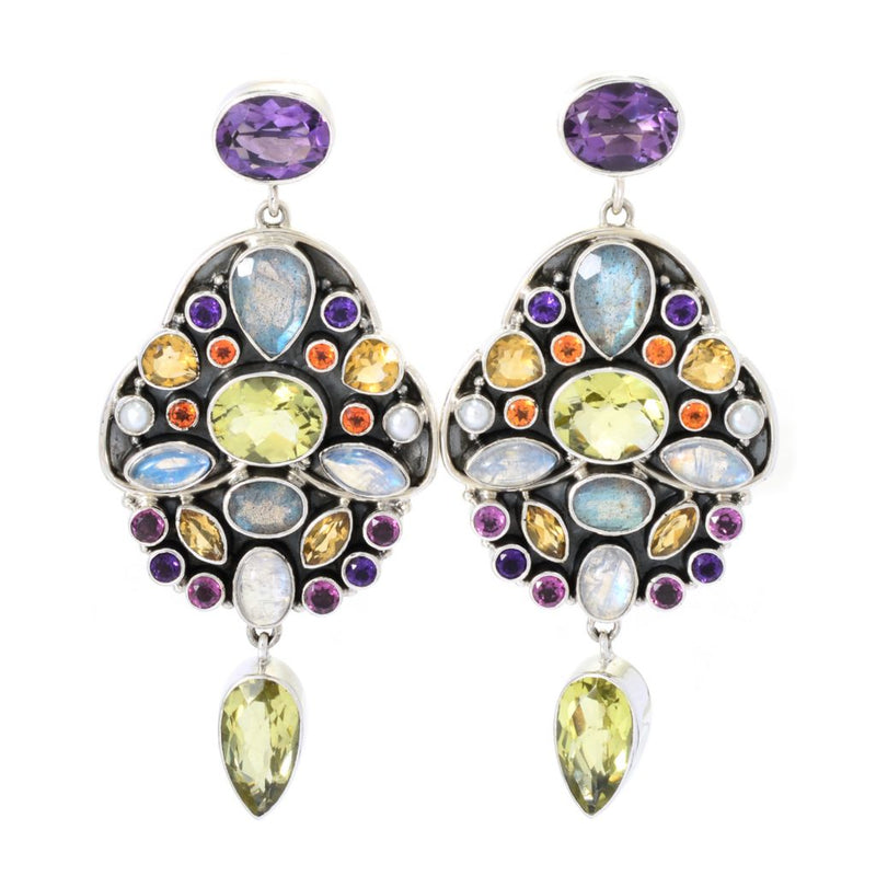 "Nicky Butler Raj Collection Sterling Silver 1.5"" Multi Gem Drop Earrings"