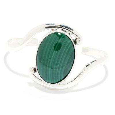 "Dominique Dinouart Designs Sterling Silver 6.5"" or 7"" 30 x 22mm Gemstone Cuff Bracelet"
