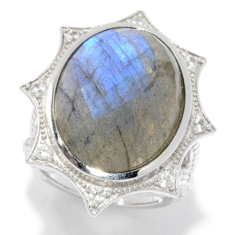 Hilary Joy Couture Sterling Silver 19.5 x 15mm Checkerboard Cut Labradorite Ring