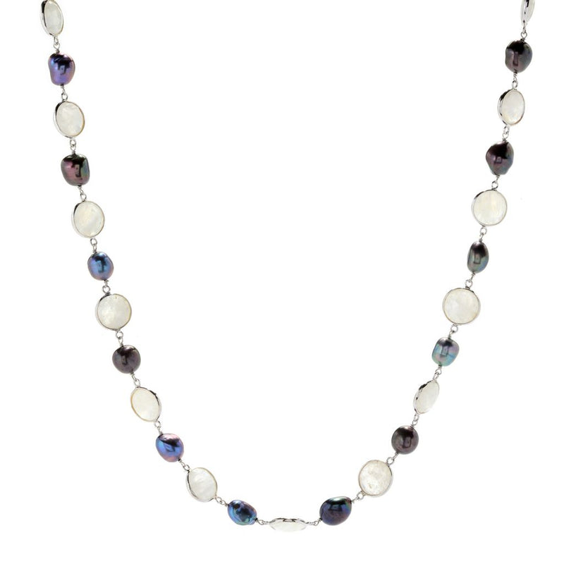 "Hilary Joy Couture Sterling Silver 30"" 13mm Gemstone & Cultured Pearl Toggle Necklace"