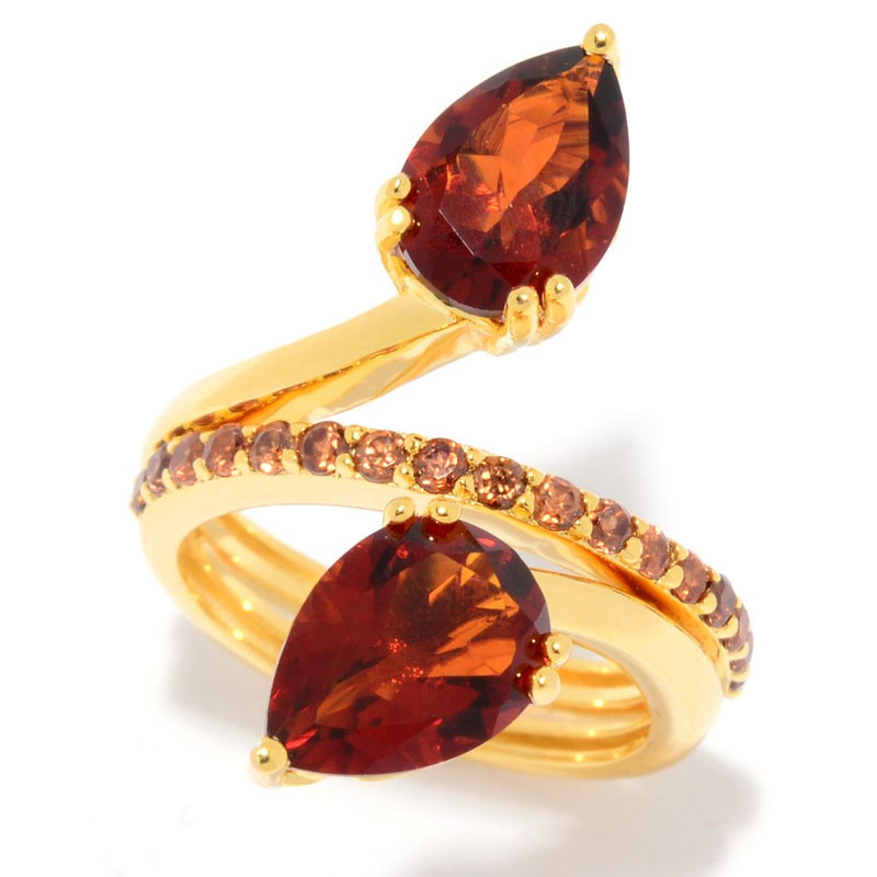 Hall of Style 4.00ctw Madeira Citrine & Mocha Zircon Bypass Ring