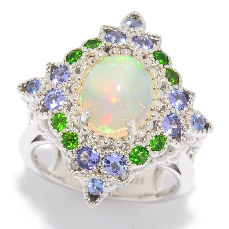 Hall of Style Sterling Silver Ethiopian Opal & Gemstone Ring