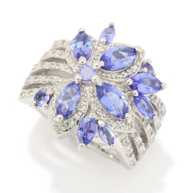 Gem Treasures® 2.01ctw Tanzanite & White Zircon Flower Ring