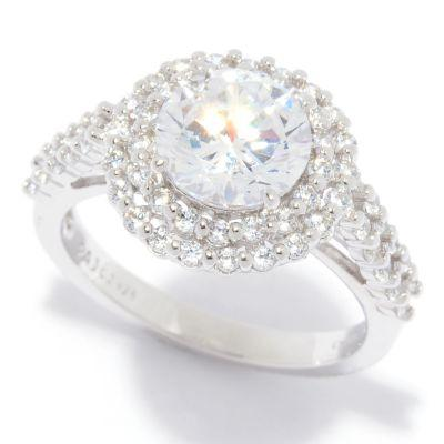 Charlie Lapson Simulated Diamond Round Double Halo Ring