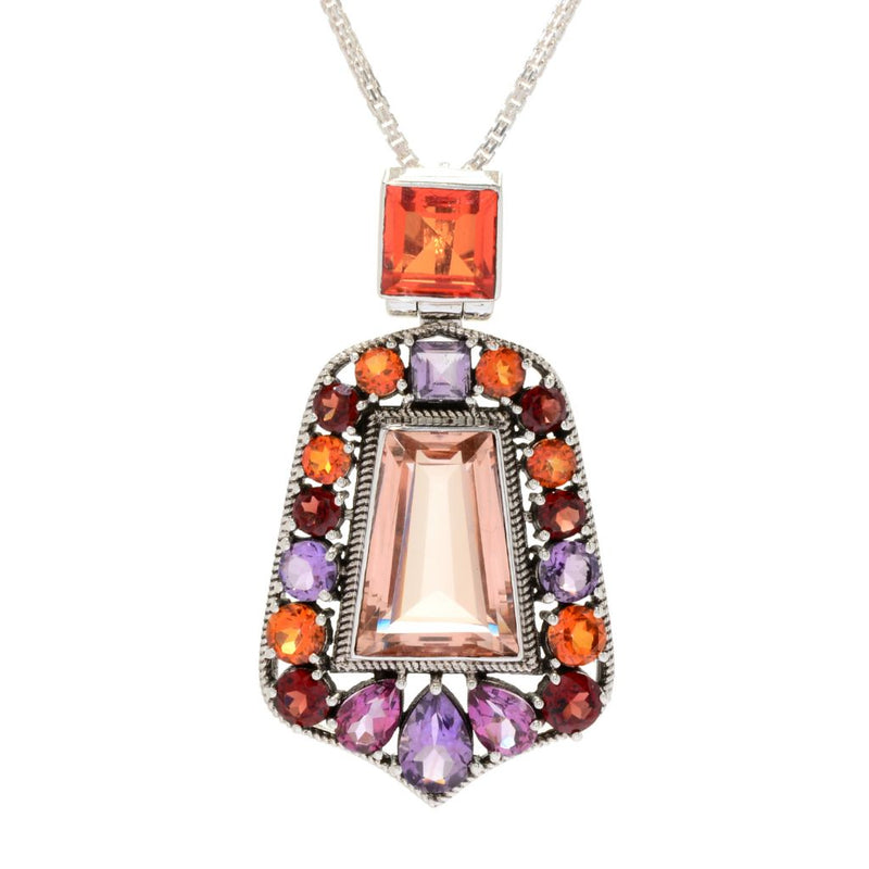 Nicky Butler Sterling Silver 22.45ctw Multi Gem Colors of Fall Pendant w/ Chain