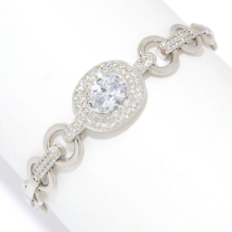 "Charlie Lapson Sterling Silver 7.75"" 3.87 DEW Simulated Diamond Link Bracelet"