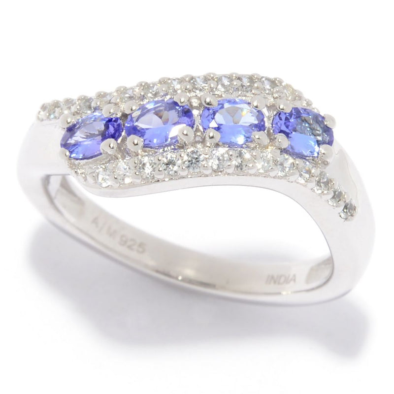 Gem Treasures® Oval Cut Tanzanite & White Zircon Curved Band Ring