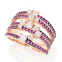 Charlie Lapson 0.57 DEW Simulated Diamond & Gemstone 5-Row Bubble Band Ring