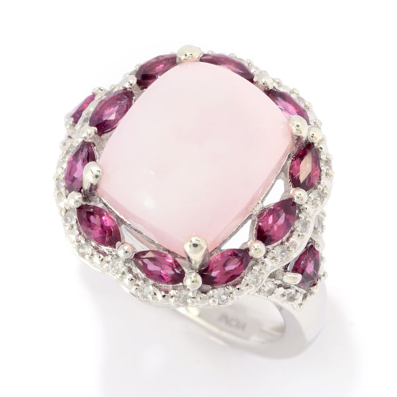 Gem Treasures® 12 x 10mm Pink Opal, Rhodolite Garnet & Zircon Ring