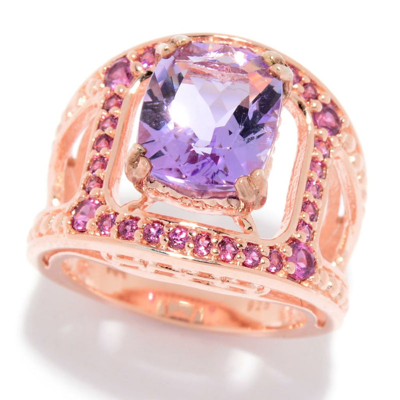 Hall of Style 4.76ctw Amethyst & Rhodolite Open Wide Band Ring