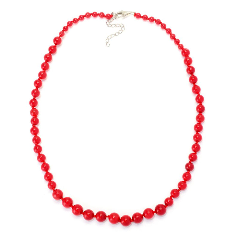 "Gems en Vogue Set of Red Coral 18"" Necklace, 8"" Bracelet & Stud Earrings"