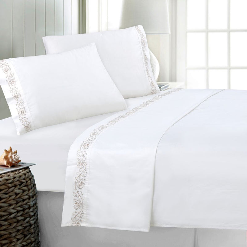 "North Shore Living ""Versailles"" 100% Cotton Sateen Embroidered 4-Piece Sheet Set"