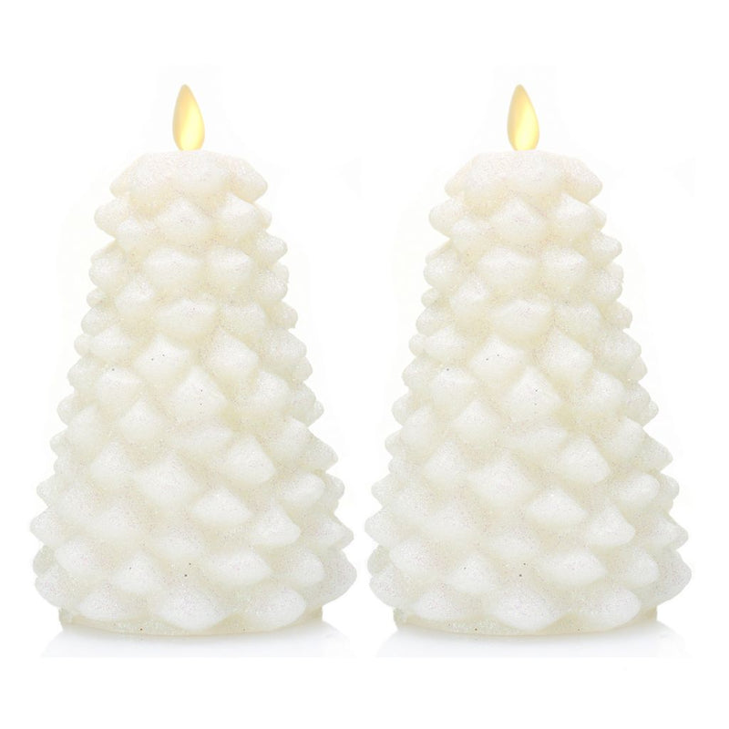 "Luminara Set of 2 (6.5"") Holiday Glitter Tree Flameless Candles w/ Remote"