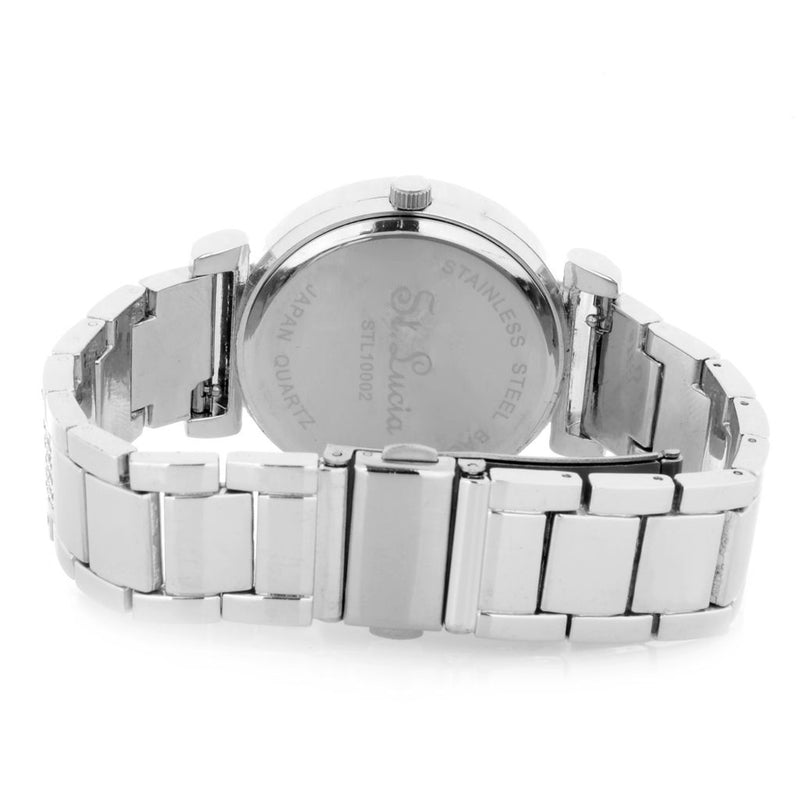 St Lucia Women's Quartz Crystal Accented Bracelet Watch w/ 2 Leather Straps