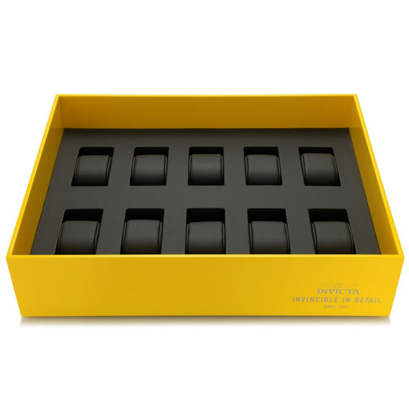 Invicta 10-Slot Yellow Stackable Watch Tray w/ Removable Cushions