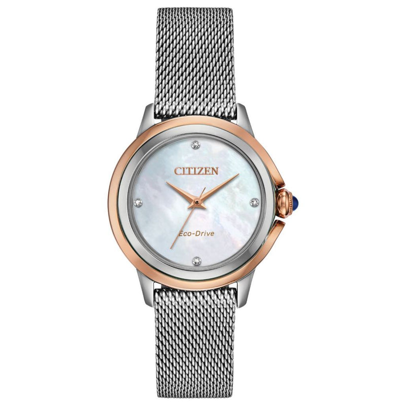 Citizen Women's Eco-Drive Quartz Diamond Accented Mother-of-Pearl Mesh Stainless Steel Watch