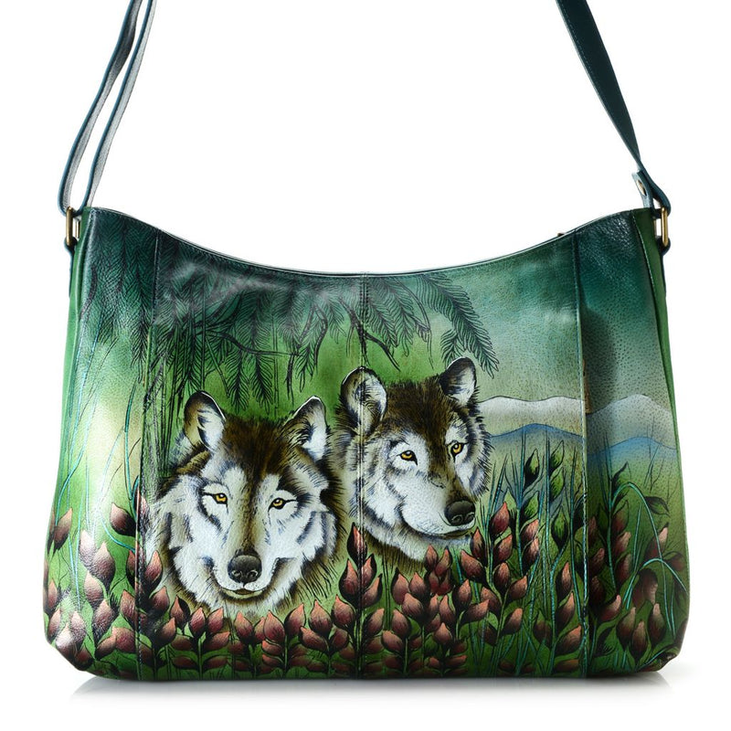 Anuschka Hand-Painted Leather Zip Top Dual Front Pocket Crossbody Bag - Final Sale