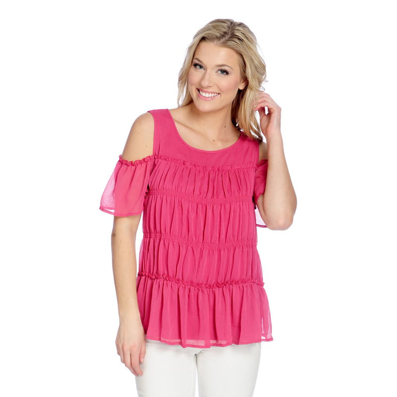 Kate & Mallory® Knit & Woven Short Sleeve Cold Shoulder Pleated Front Top