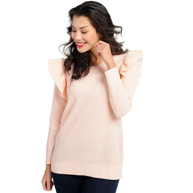 Kate & Mallory® Ribbed Knit Long Sleeve Ruffled Shoulder V-Neck Sweater
