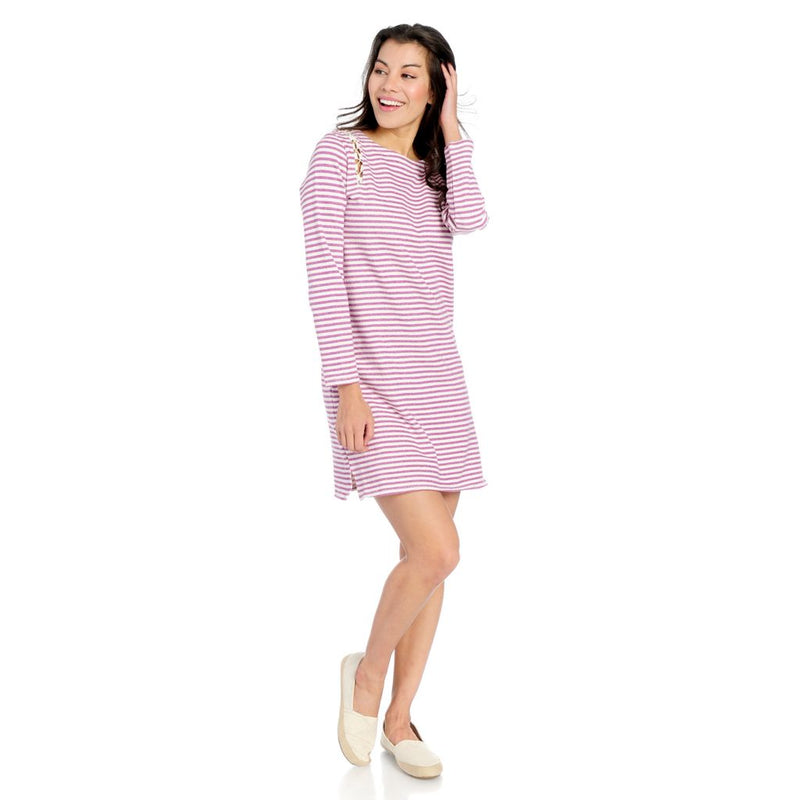 OSO Casuals® Striped French Terry Knit Lace-up Slit Shoulder Sweater Dress