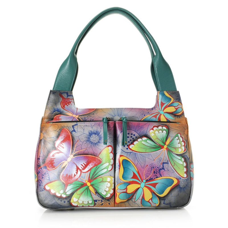 Anuschka Hand-Painted Leather Zip Top Dual Front Pocket Hobo Handbag - Final Sale