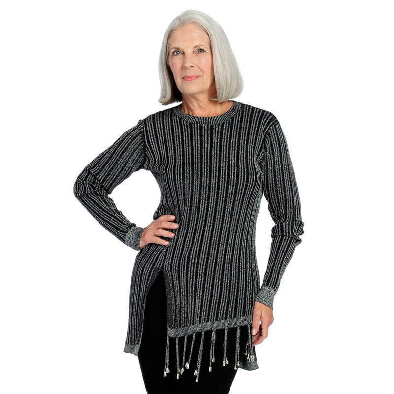 Studio Nouveau Knit Long Sleeve Fringe Detailed Asymmetrical Metallic Top