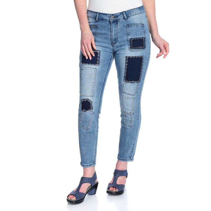 Indigo Thread Co.[ Denim 4-Pocket Contrast Stitched Patchwork Detailed Ankle-Length Jeans