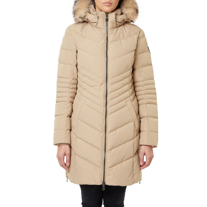 "Pajar ""Queens"" Chevron Quilted Downfill Puffer Coat w/ Removable Fur Hood Trim"