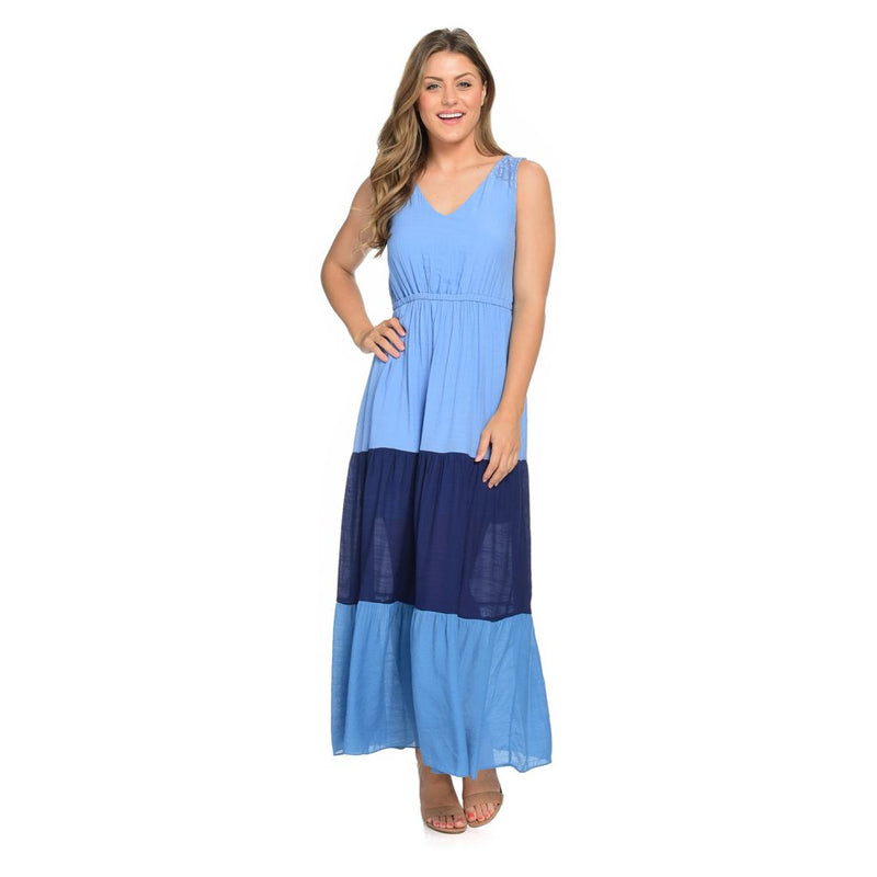 OSO Casuals] Woven Sleeveless V-Neck Tiered Color Block Knit Lined Maxi Dress