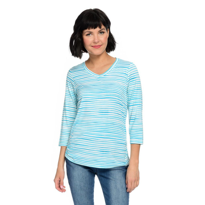 French Dressing Jeans Striped Knit 3/4 Sleeve Ruched Side V-Neck Top