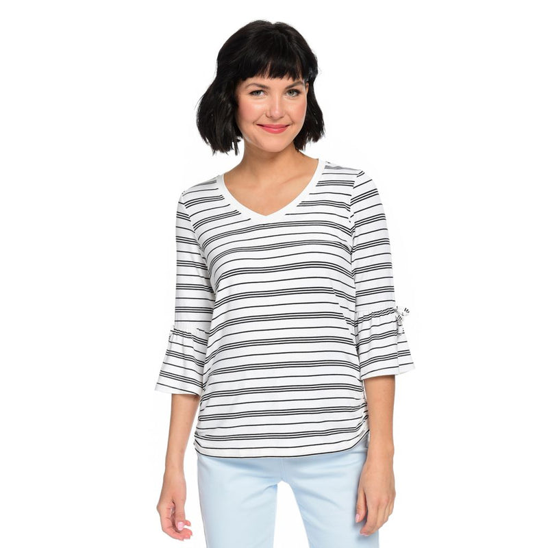 French Dressing Jeans Striped Knit V-Neck 3/4 Sleeve Uneven Hem Top