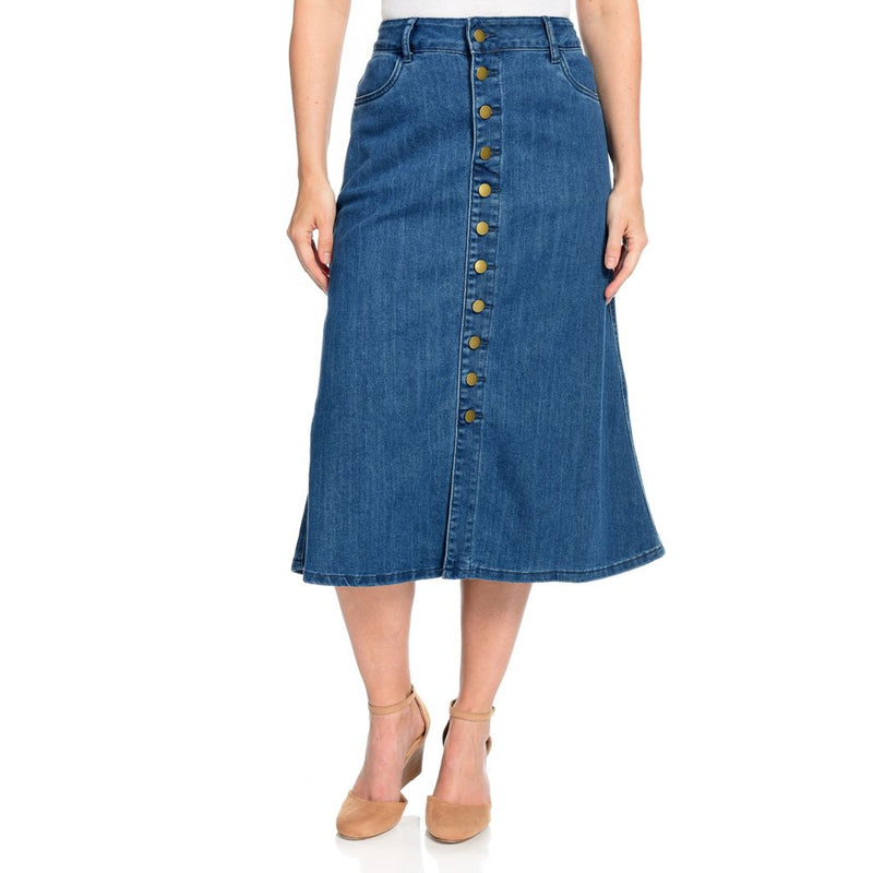 Indigo Thread Co.[ Stretch Denim 2-Pocket Button Front Vented Skirt
