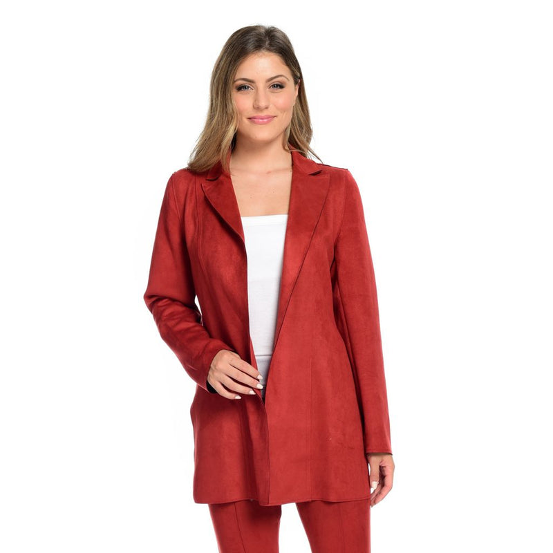 Nygard Luxe Ponte Faux Suede Notched Lapel Side Slit Coat