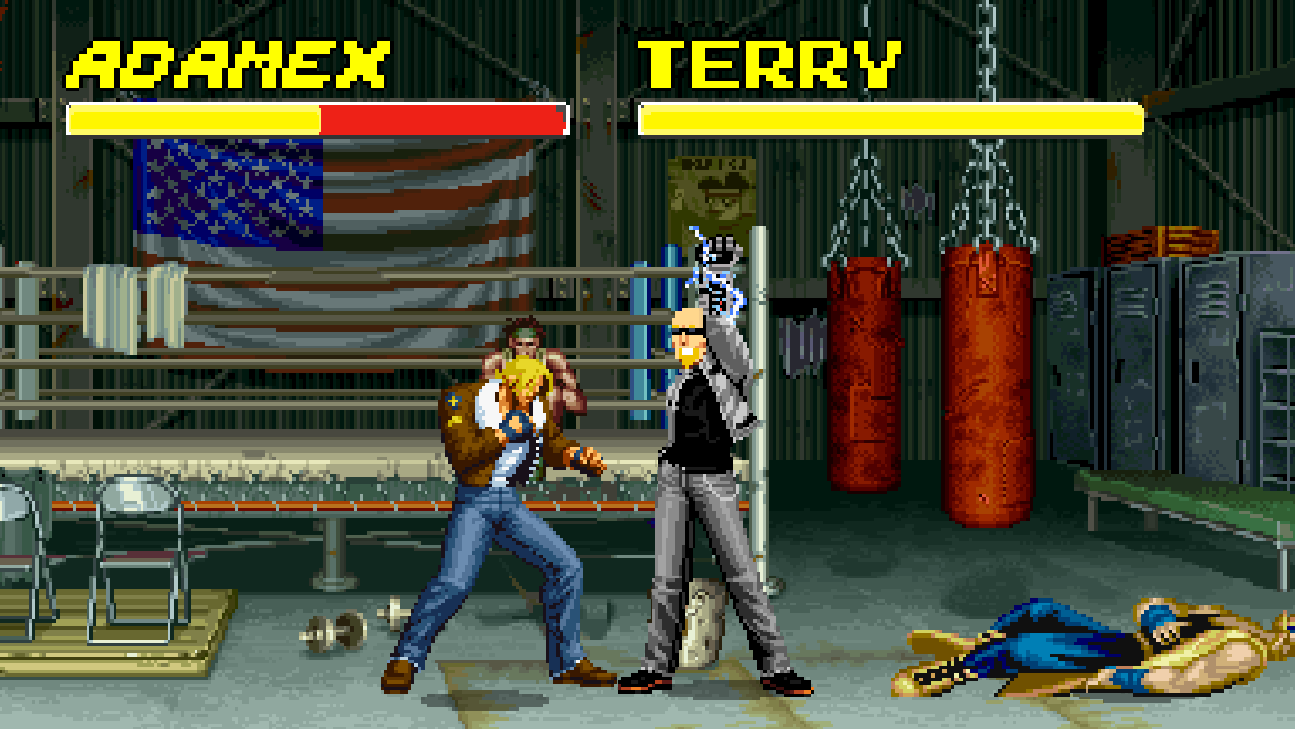 AdamEX powers his Power Glove in front of Terry Bogard while training in Southtown as Terry gets ready to enter Nintendo's Super Smash Bros. Ultimate Tournament.