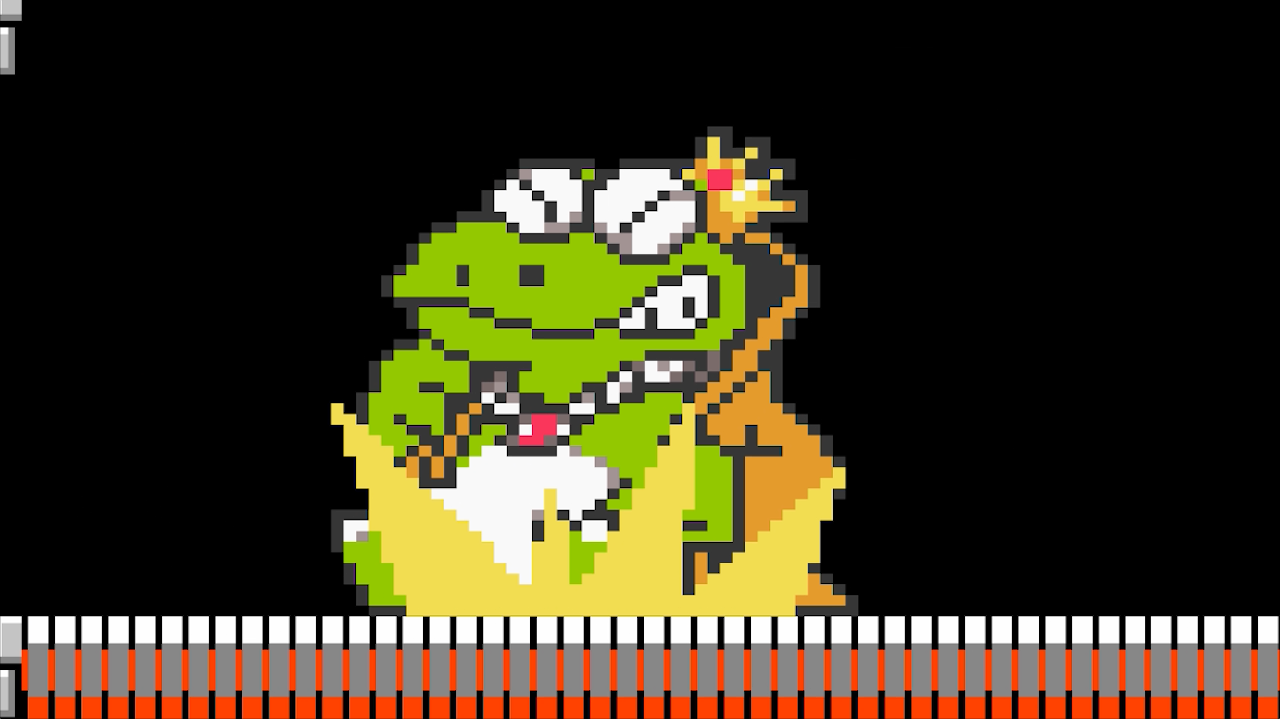Wart from Super Mario Bros. 2 appears in the Game of Mushrooms by the Pixel X and he faces off against Princess Peach and Wario
