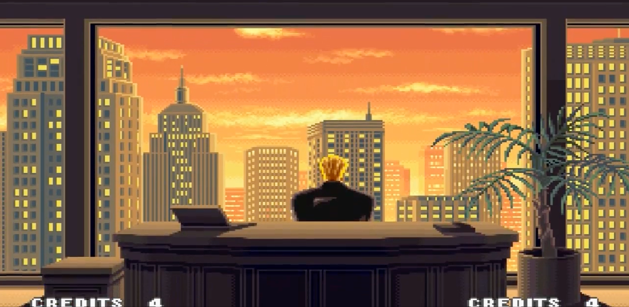 Geese Howard sitting in his high rise tower over looking South town.  Could he be behind the war between the Southtown Syndicate and the Mad Gear?