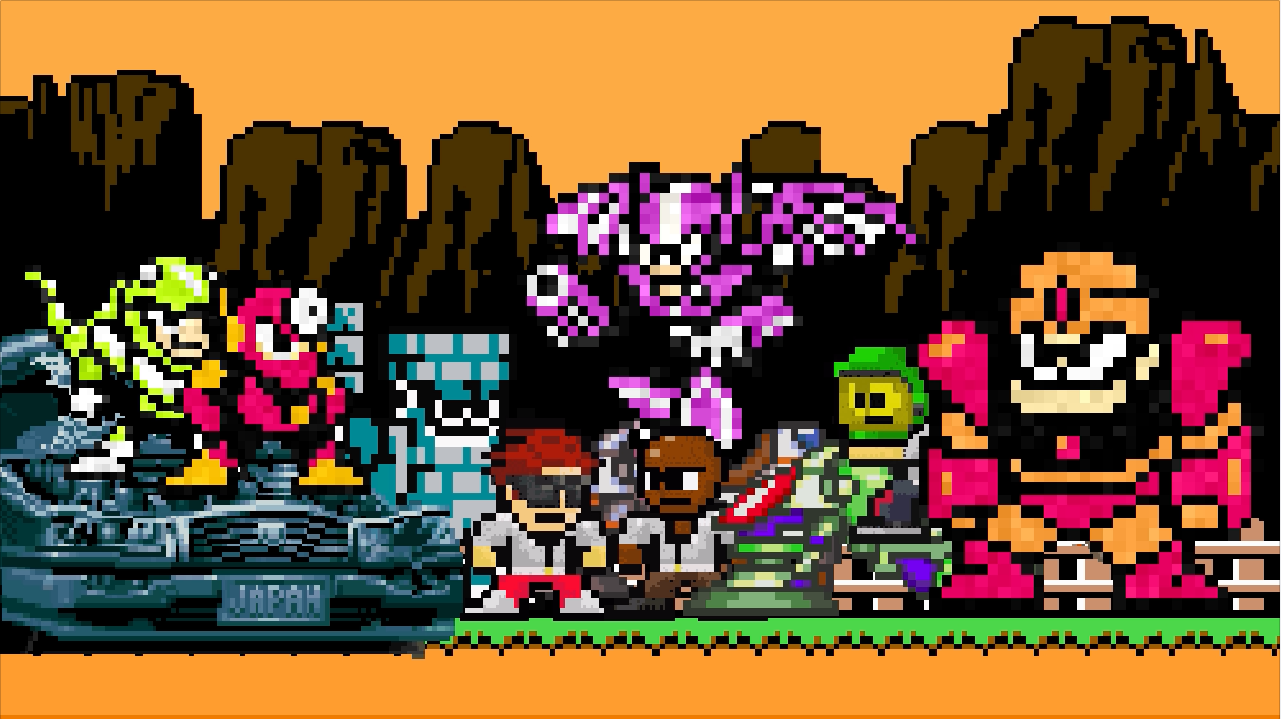 Glitch Boy Gang The Neo Wily's sitting with Dr. Wily Robots from Mega Man including Metal Man.