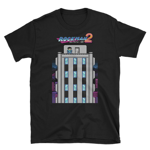 Mega Man 2 shirt feating the intro to Mega Man 2 in pixel art and the Japanese Title for Pixel X by Adam EX
