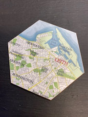Coasters Hexagon Leith Map