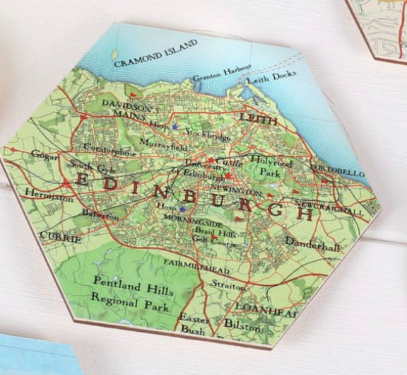 Coaster Hexagon Edinburgh Map